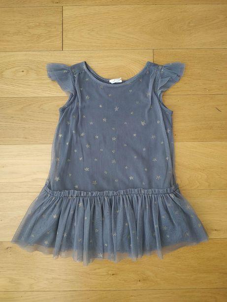 104 Zara sukienka sukieneczka szara tiulowa w gwiazdki gwiazdy