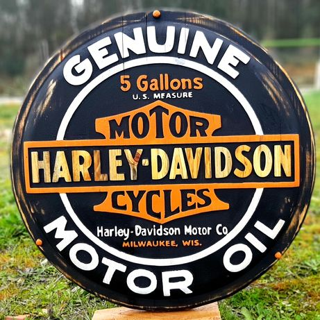 Quadro Harley Davidson oil motor vintage madeira pinho
