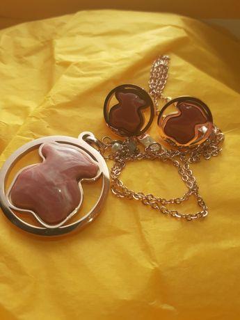 Conjunto Rosa/Dourado Urso