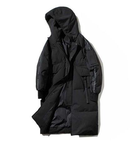 Мужской зимний удлинённый пуховик пальто оверсайз, 4 цв., размер 46-52