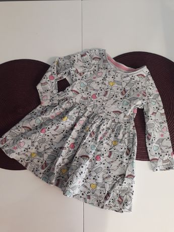 Sukienka długi rękaw. 86/92 gratis czapka zimowa