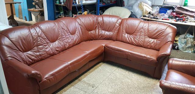 Narożnik skórzany rogówka kanapa sofa skóra funkcja spania jak nowy