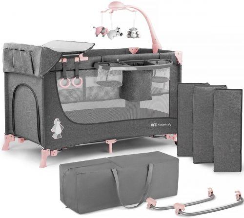 Kinderkraft Joy + akcesoria - wielofunkcyjne łóżeczko turystyczne