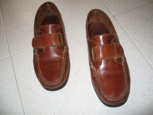 Sapatos Ralph Lauren, pele castanha, pouco usados