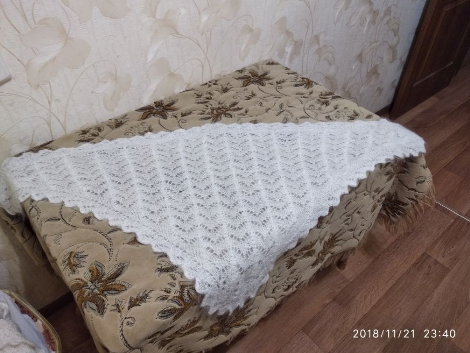 Продам пуховые ажурные белые косынки.Натур.козий пух,500 грн Краматорск - изображение 1