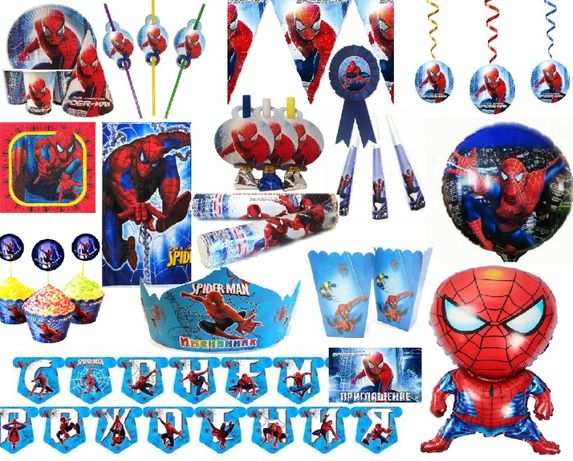 Человек паук декор праздничного стола, набор на 1 чел. (кенди бар)