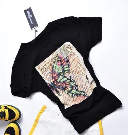 Mint bluzka T-shirt biala motyl na gazecie kolorowy cyrkonie S M L