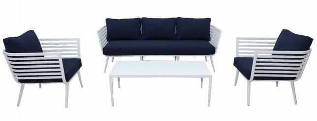 Meble ogrodowe Jumi zestaw stół  sofa  2 x fotel  białe aluminiowe