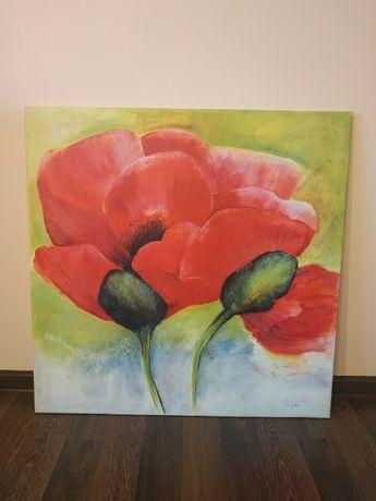 Obraz kwiaty maki 80x80 cm