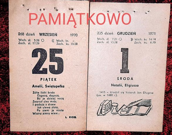 Kartka z kalendarza 1970 i 1971