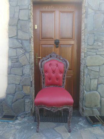 Krzesła barokowe skóra wiśniowa tron