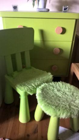 stolik dziecięcy + 2 krzesła + komoda - mamut