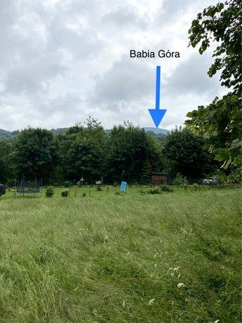 Zawoja działka słoneczna przy lesie z widokiem na Babią Górę