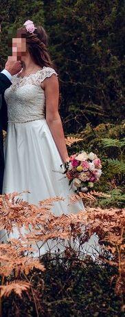 Jedwabna suknia ecru roz. S