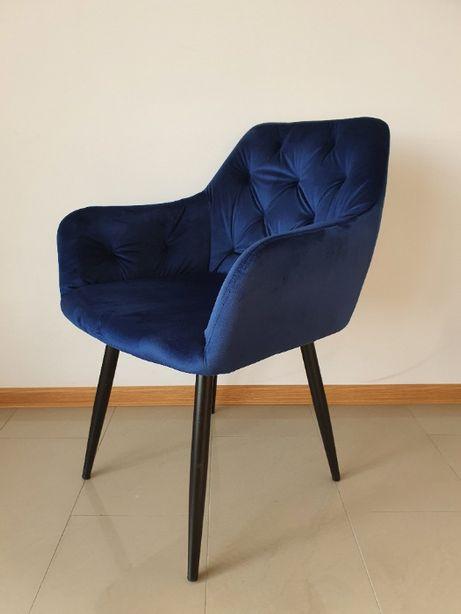 Krzesło Tapicerowane Aksamitne Granatowe Niebieskie Royal Blue Modern