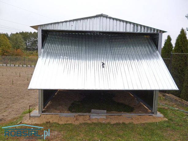 PRODUCENT Garaż blaszany 3x5 dwuspadowy z bramą uchylną, SUPER CENA