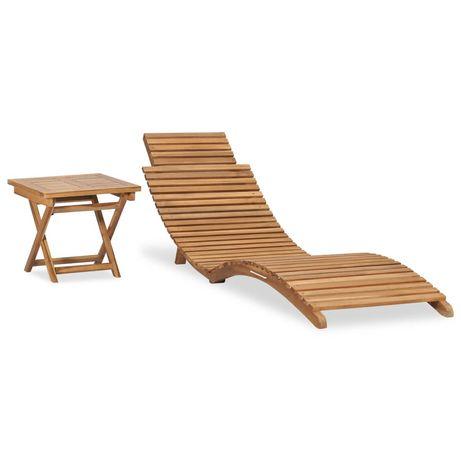 vidaXL Espreguiçadeira dobrável com mesa madeira de teca maciça 310666