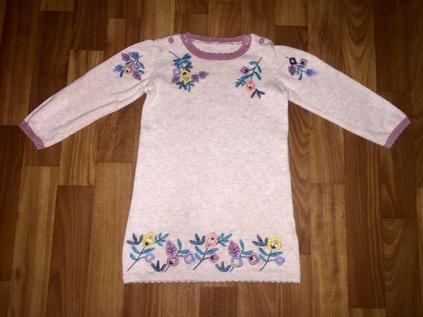 Теплое вязаное платье в цветочную апликацию от TU