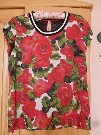 Bluzka tunika marki Marc Cain rozm N 3 (40) L w róże 3D HUGO BOSS