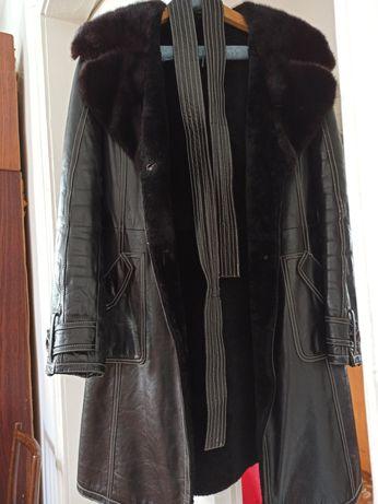 Шкіряне пальто на меху натуральне