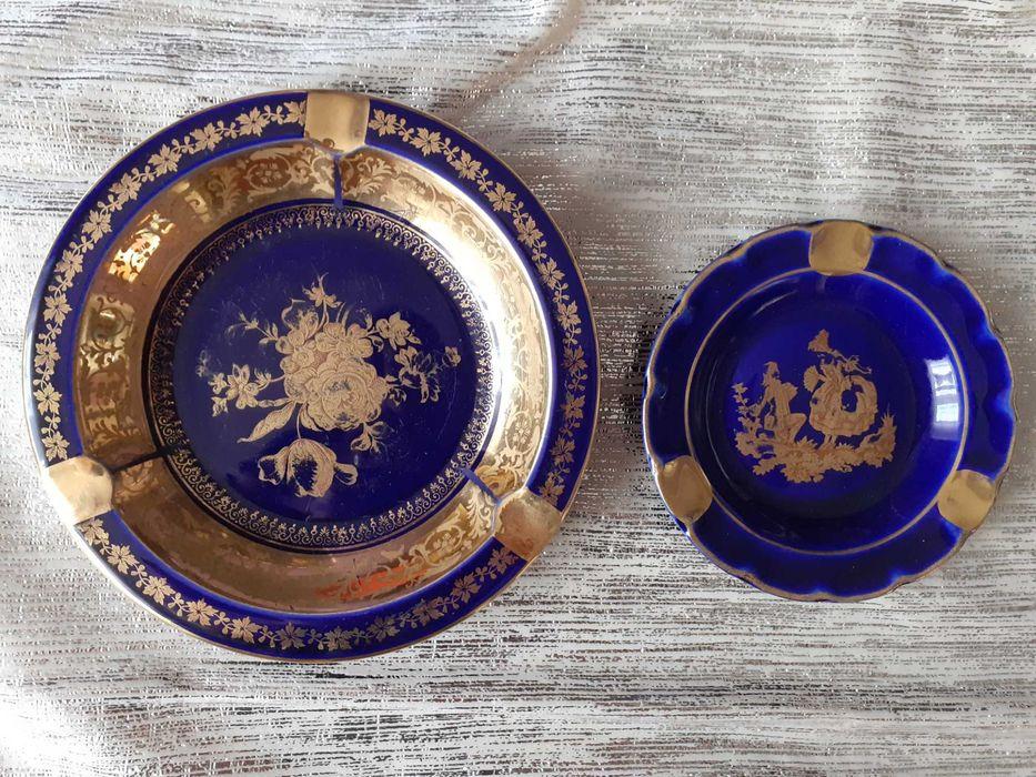 Antyk, Porcelana Limoges France kobalt-popielniczka pozłacana! Radlin - image 1