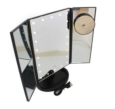 LUSTERKO Kosmetyczne PODŚWIETLANE 22 LED 2x 3x USB czarne / białe