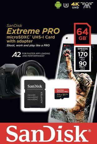 Cartão de memória MicroSD SanDisk Extreme Pro - 32/64/128/256GB (NOVO)