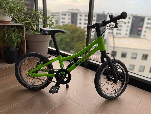 Lekki rower dziecięcy KUbikes 14 taki jak Woom 2 5,5 kg Zielony