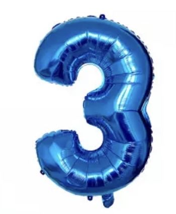 Balões Azuis número 3 - NOVOS
