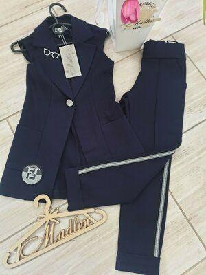 Модный школьный костюм Жилет Брюки Лампасы