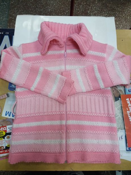 Теплая кофта/ свитер на девочку 7-12 лет