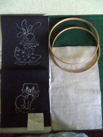Деревянные пяльцы д.20 см, СССР и панно льняное для вышивания-3шт.