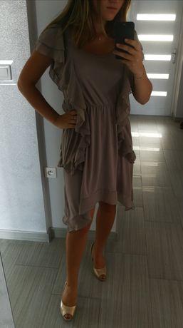 Asymetryczna sukienka z falbanami H&M