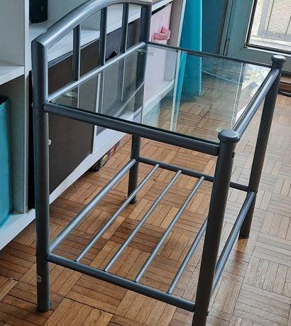 Stolik szary metalowy szyba szkło