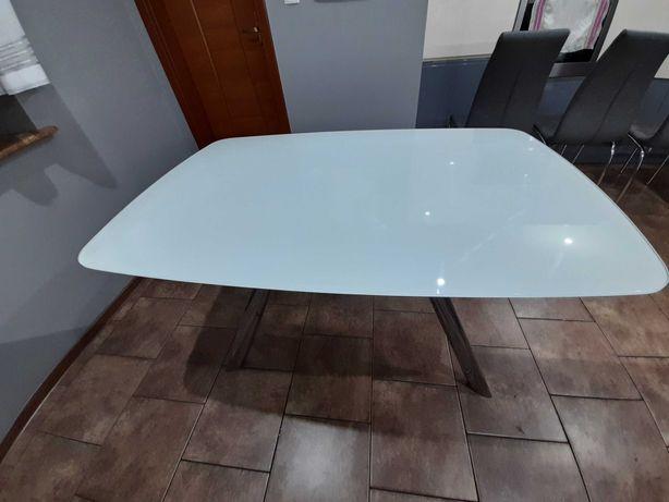 Stół szklany mleczny rozkładany 90x140 (210)