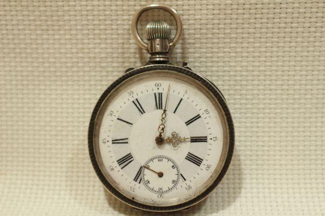 Relógio Bolso em Prata Remontoir Double plateau 17 rubis Suíço funcion