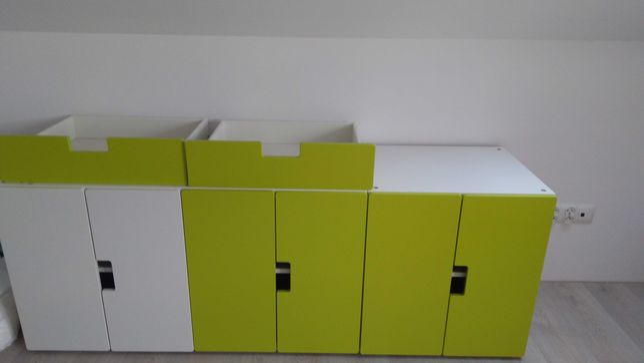 Stuva Ikea fronty i szafki zielony róż biały
