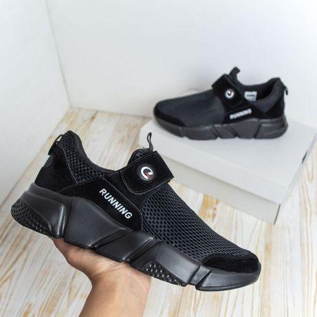 3166 Running Classic кроссовки мужские летние сетка чёрные  кеды чорні