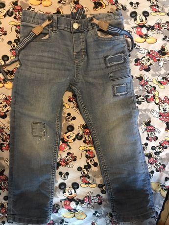 H&m jeansy dżinsy z szelkami 104