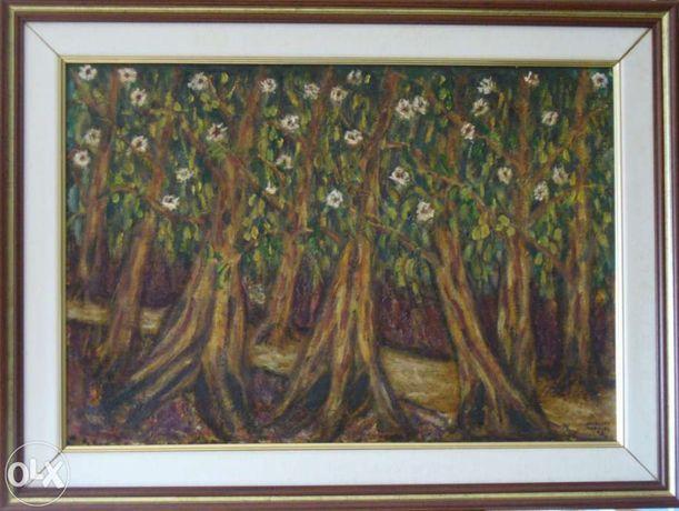 Quadro a oleo - Eucaliptos, da pintora Nazaré Marques