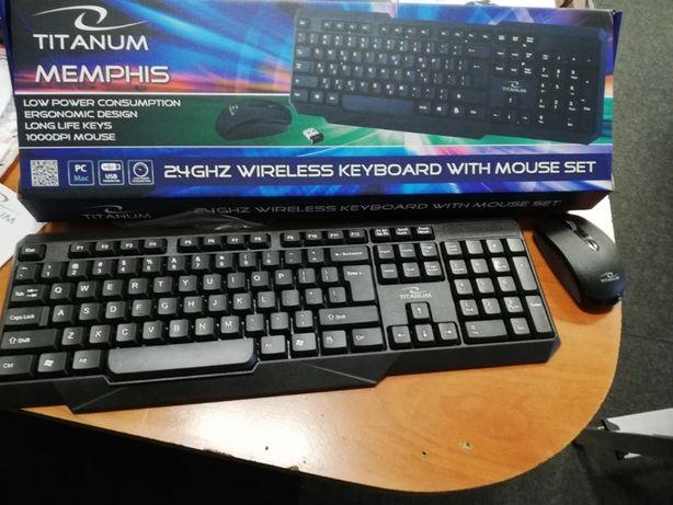 Bezprzewodowa klawiatura plus mysz czarna