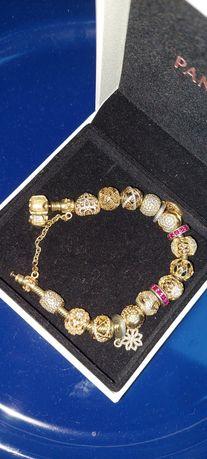 Oryginalna bransoletka pandora złota pr.585 plus charmsy