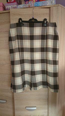 Szara czarna ecru/beż spódnica w kratę rozmiar 42/XL