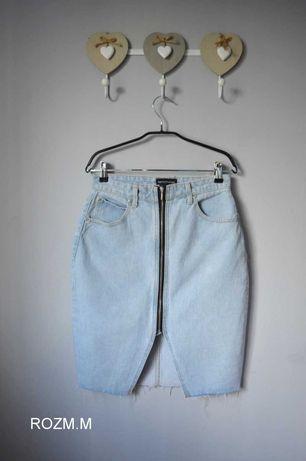Spódnica jeans zamek ozdobny M