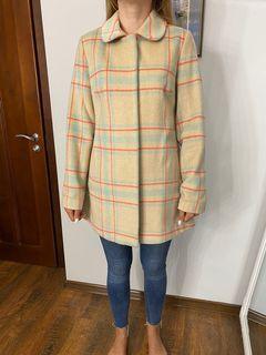 кашемировое пальто в клетку, размер 38 от New Look