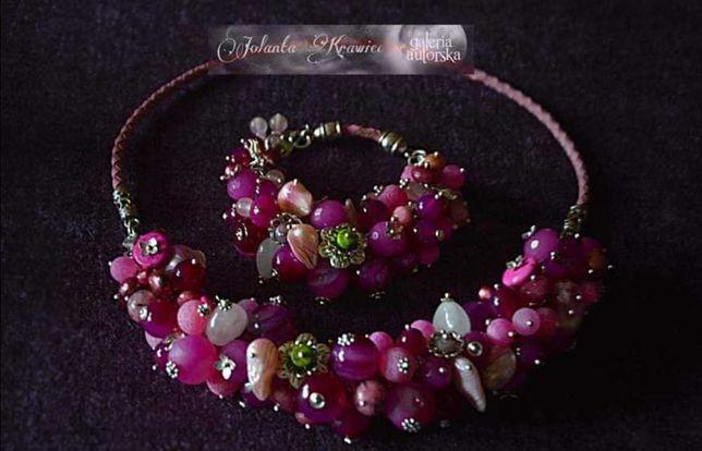 Biżuteria naszyjnik bransoletka naturalne kamienie srebro hand made