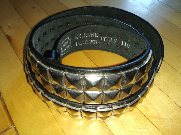 Ремень пояс ремінь мужской женский кожаный кожа с заклёпками Italy 110