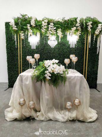 ścianka kwiatowa weselna, napisy świetlne neon dekoracje ślubne Lublin