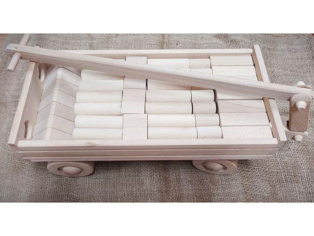 Wózek drewniany karka z klockami klocki drewniane