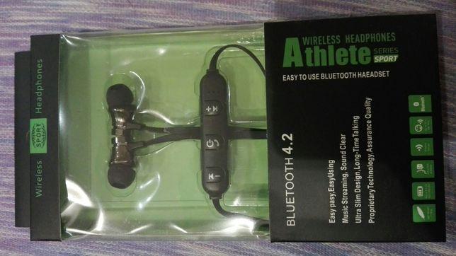 Słuchawki bezprzewodowe bluetooth z mikrofonem BT 4.2 magnetyczne